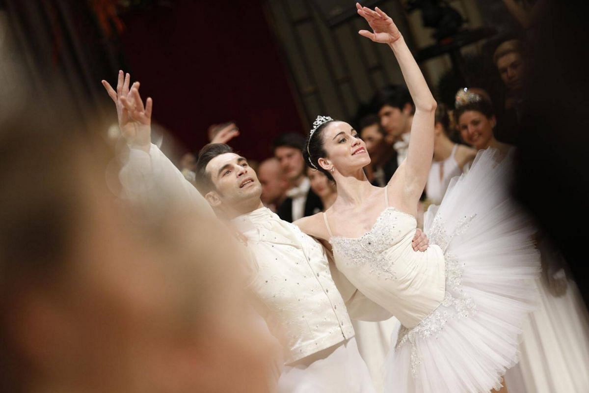 Dancers of the State Opera Ballet perform during the opening ceremony of the traditional 63rd Vienna Opera Ball at the State Opera.