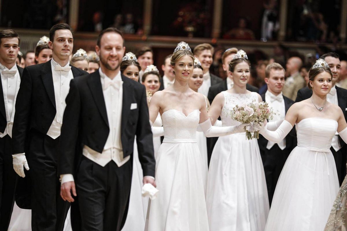 Debutantes and debutants perform during the opening ceremony of the traditional 63rd Vienna Opera Ball at the State Opera.