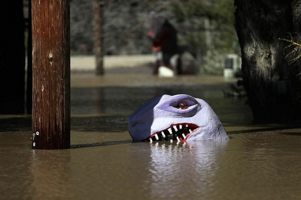 A dinosaur head is visible in a flooded miniature golf course on Feb 28, 2019, in Guerneville, California.