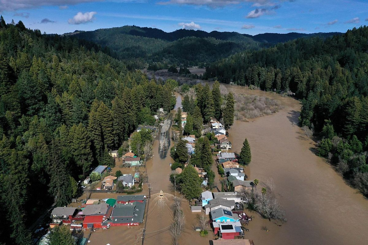 An aerial view of a flooded neighbourhood on Feb 28, 2019, in Guerneville, California.