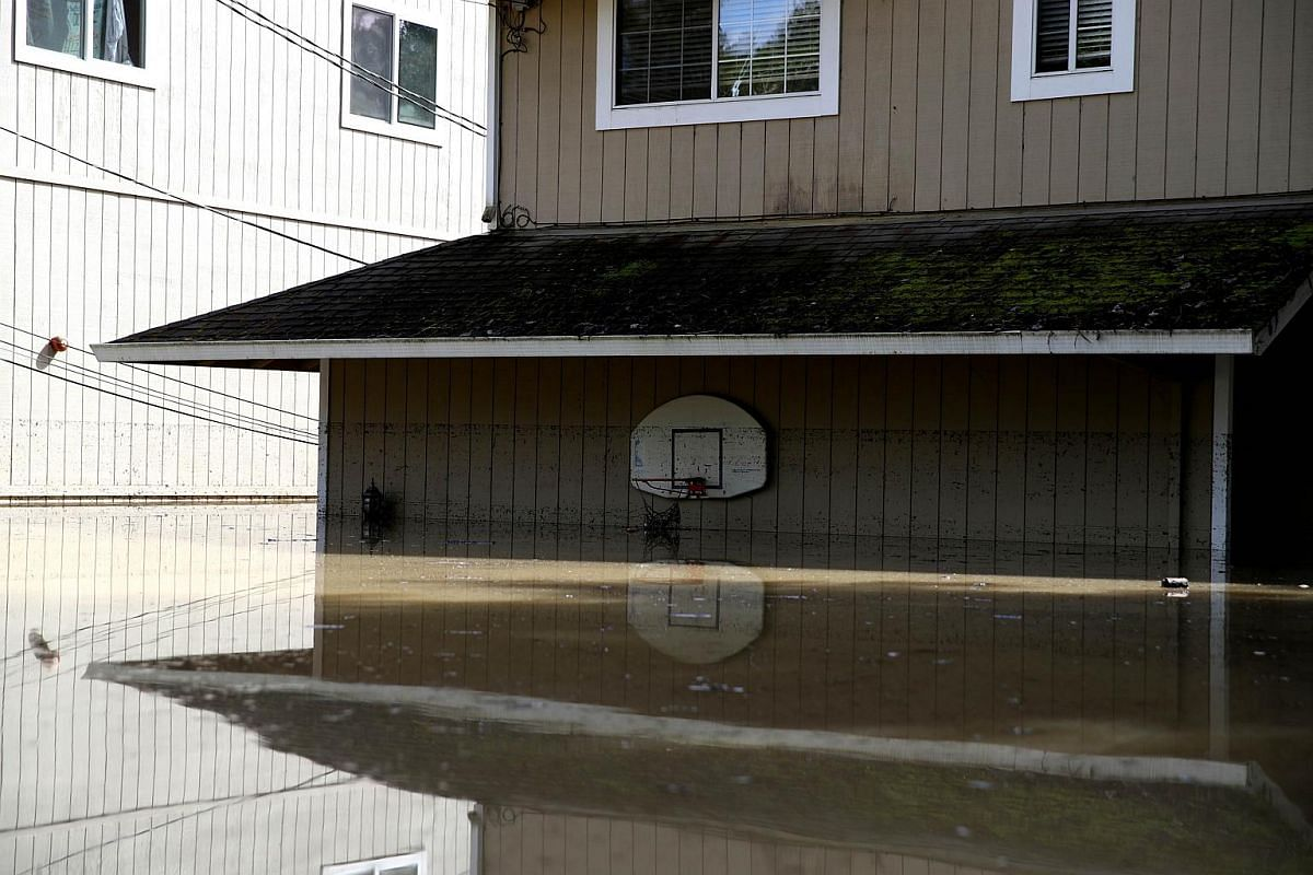 Homes sit in a flooded neighbourhood on Feb 28, 2019, in Guerneville, California.