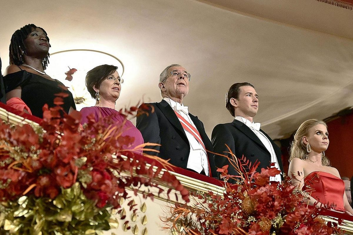 (From left) Former United States president Barack Obama's half-sister, Auma; Austria's First Lady Doris Schmidauer; President Alexander Van Der Bellen; Chancellor Sebastian Kurz and his partner Susanne Thier at the Opera Ball in the Vienna State Opera.