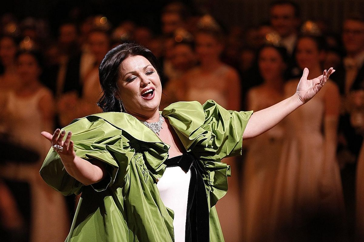 Russian-Austrian soprano Anna Netrebko (above) and dancers of the State Opera Ballet performing during the opening ceremony at the State Opera.