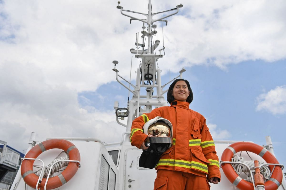 Captain Pek Hong Kun is one of only two female marine firefighters on the frontline in SCDF's marine command division.