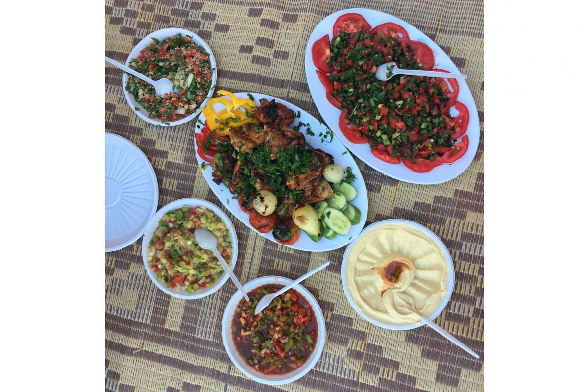 A beautifully plated lunch of salads, hummus and tender smokey chicken eaten in the middle of the desert.