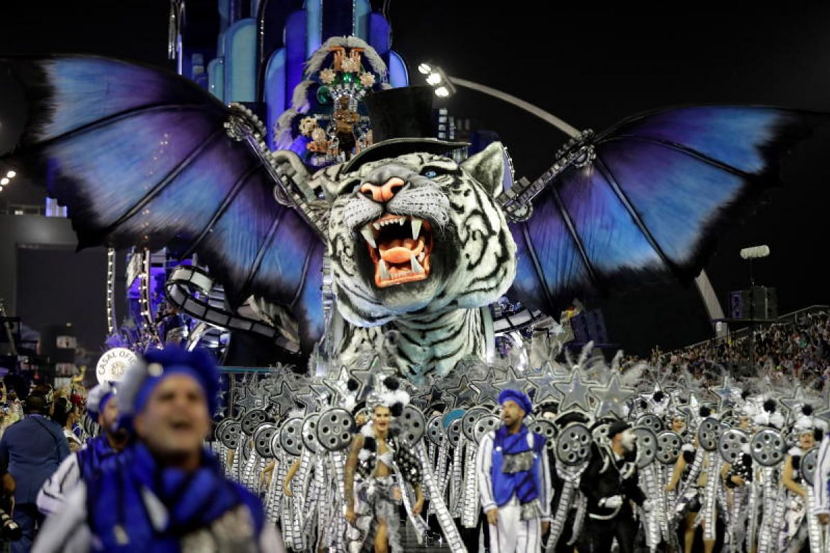 Members of the Imperio da Casa Verde samba school perform at the Rio Carnival at the Anhembi Sambadrome in Sao Paulo, Brazil on March 1, 2019.