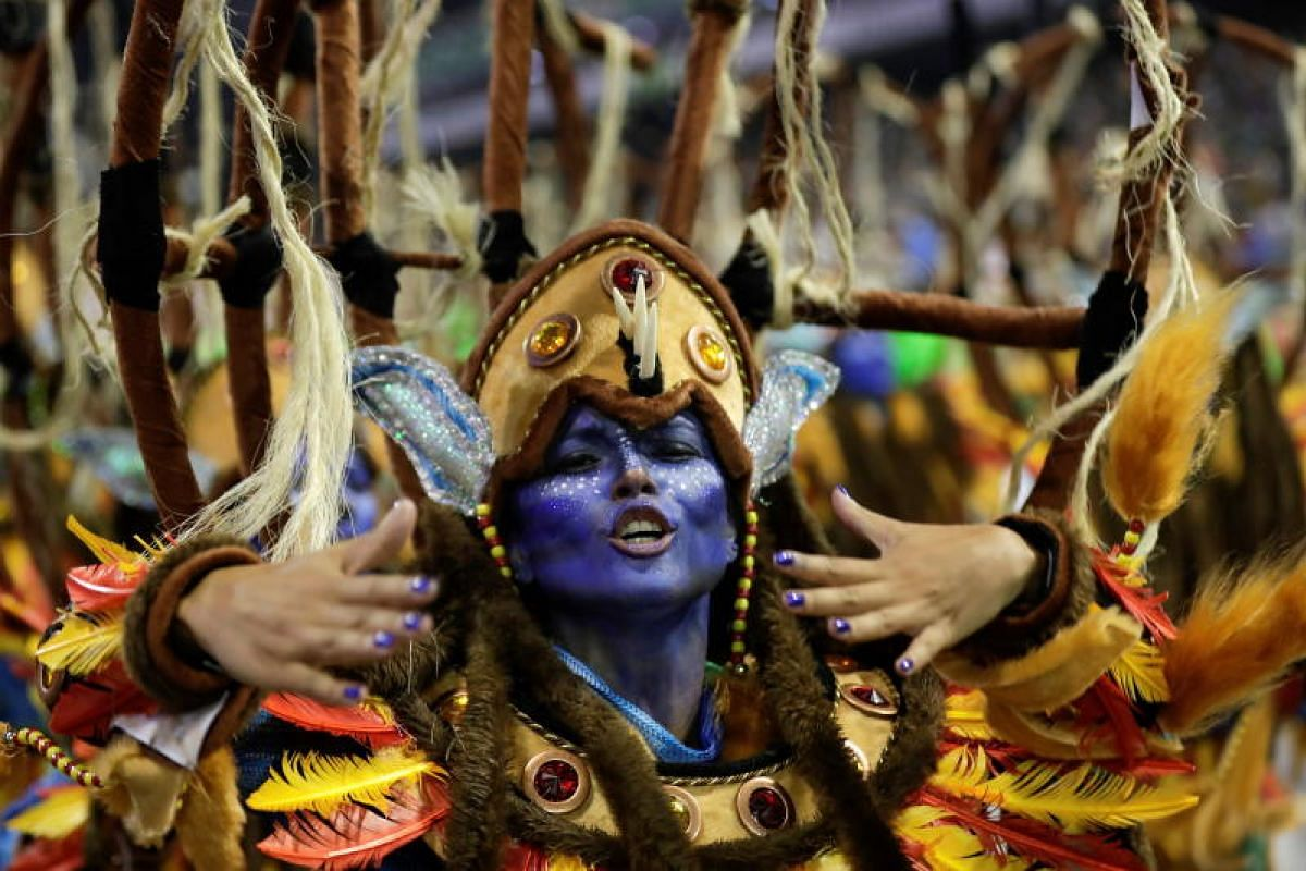Members of the Imperio da Casa Verde samba school perform at the Rio Carnival at the Anhembi Sambadrome in Sao Paulo, Brazil, on March 1, 2019.