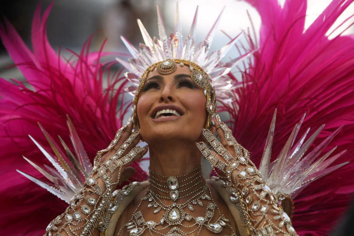 Drum queen Sabrina Sato from the Gavioes da Fiel samba school performs at the Carnival parade at the Sambadrome in Sao Paulo, Brazil, on March 3, 2019.