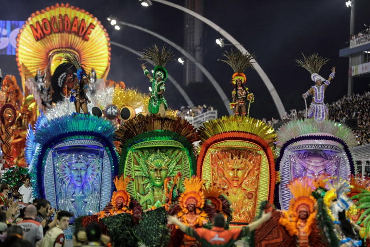 Members of the samba school of Mocidade Alegre perform during Carnival celebrations at the Anhembi Sambadrome in Sao Paulo, Brazil, on March 2, 2019.