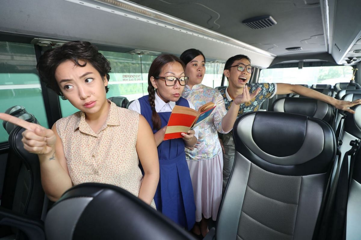 To find out more about Singapore's history, the public can hop on a bus where actors tell stories of the 1970s, in a show called Buses And Roads: A Bus Theatre Experience, March 4, 2019. PHOTO: THE STRAITS TIMES/TIMOTHY DAVID