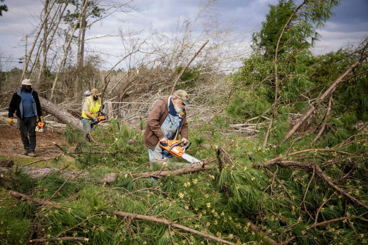 Mr Rodger Adams cuts up a tree after a tornado swept through the area in the Beauregard community of Lee County, Alabama, on March 4, 2019.