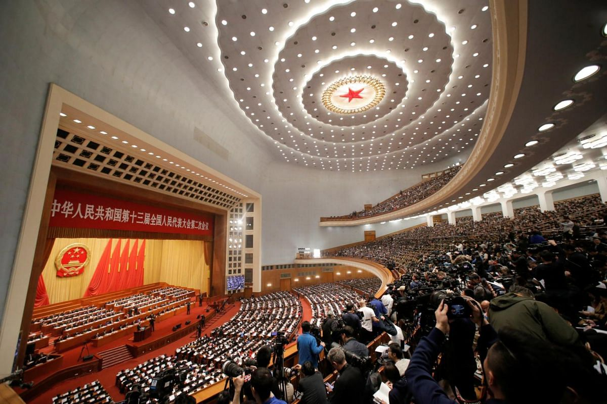 Delegates and journalists at the second session of the 13th National People's Congress at the Great Hall of the People in Beijing on March 5, 2019.