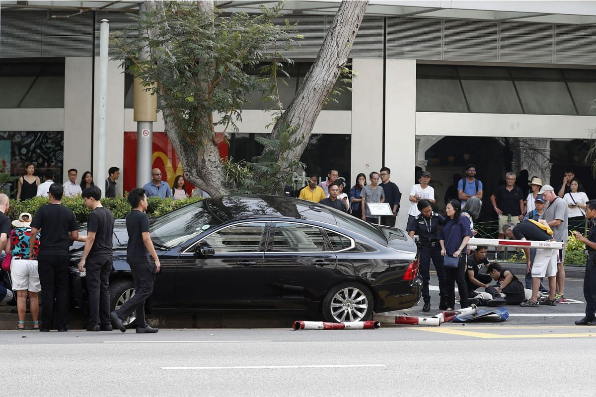 Three men were injured after a car mounted a kerb outside Raffles City Shopping Centre, near The Botanic Restaurant, yesterday. The police said it was alerted to an accident along Bras Basah Road towards Nicoll Highway at 4.40pm. The three pedestrian