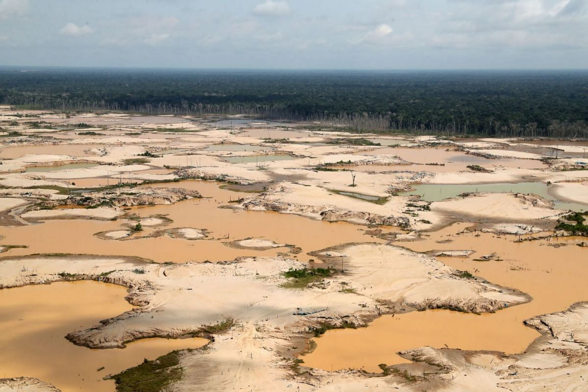An aerial view shows a deforested area of the Amazon jungle in southeast Peru caused by illegal mining, during a Peruvian military operation to destroy illegal machinery and equipment used by wildcat miners in Madre de Dios, Peru, March 5, 2019. Phot