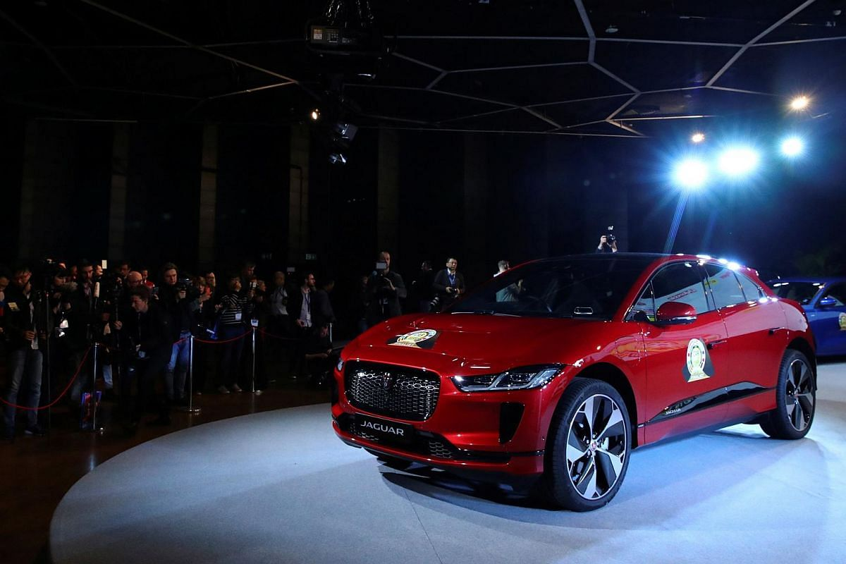 The Car of the Year 2019 winner, Jaguar I-Pace, during the award ceremony ahead of the 89th Geneva International Motor Show in Geneva, Switzerland, on March 4, 2019.