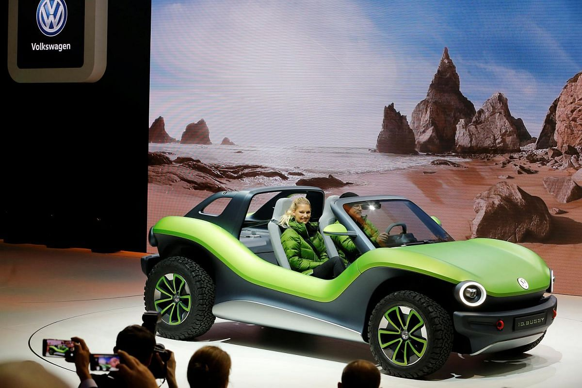 The new Volkswagen I.D. Buggy on display at the Geneva International Motor Show.