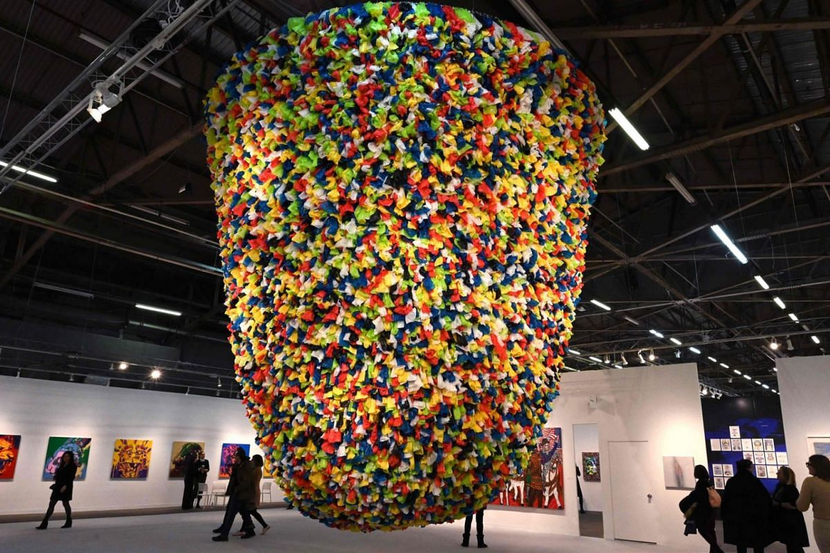 Artist Pascale Marthine Tayou's Plastic Bags is on display at the The Armory Show at Piers 90, 92, and 94 in New York, on March 6, 2019. PHOTO: AFP