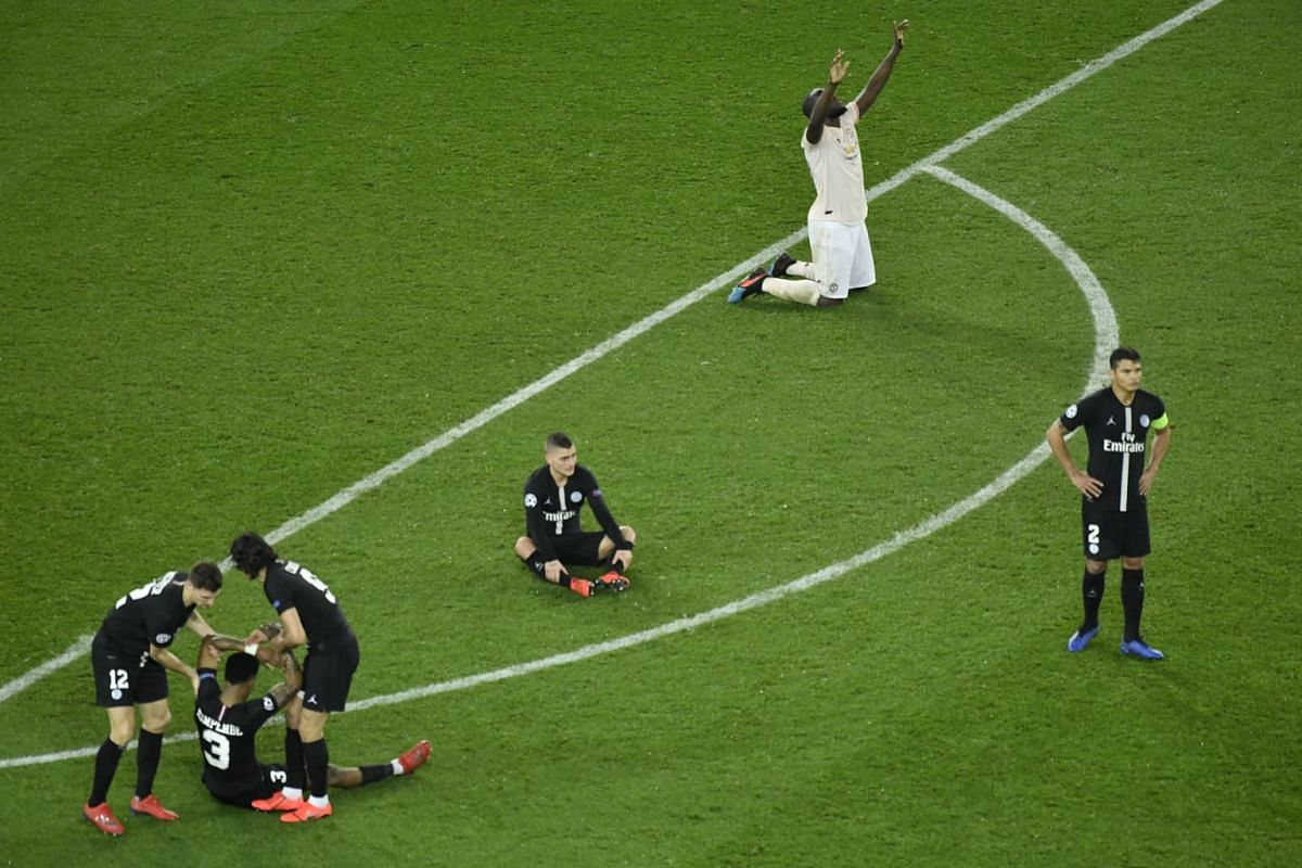Manchester's Romelu Lukaku celebrates during the UEFA Champions League round of 16 second leg soccer match between PSG and Manchester United at the Parc des Princes Stadium in Paris, France, on March 6, 2019. PHOTO: EPA-EFE
