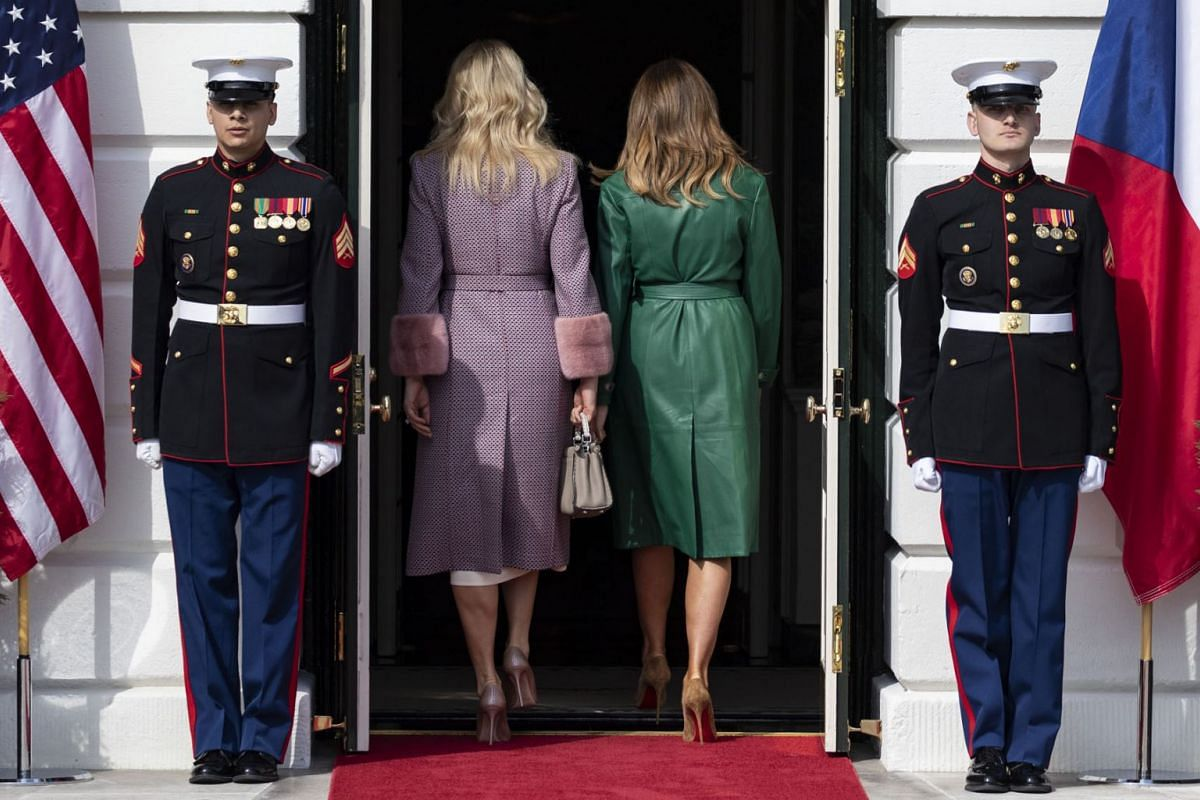 U.S. First Lady Melania Trump, second right, and Monika Babiov, wife of Czech Republic Prime Minister Andrej Babis, second left, enter the White House in Washington, D.C. on Thursday, March 7, 2019.  PHOTO: Bloomberg