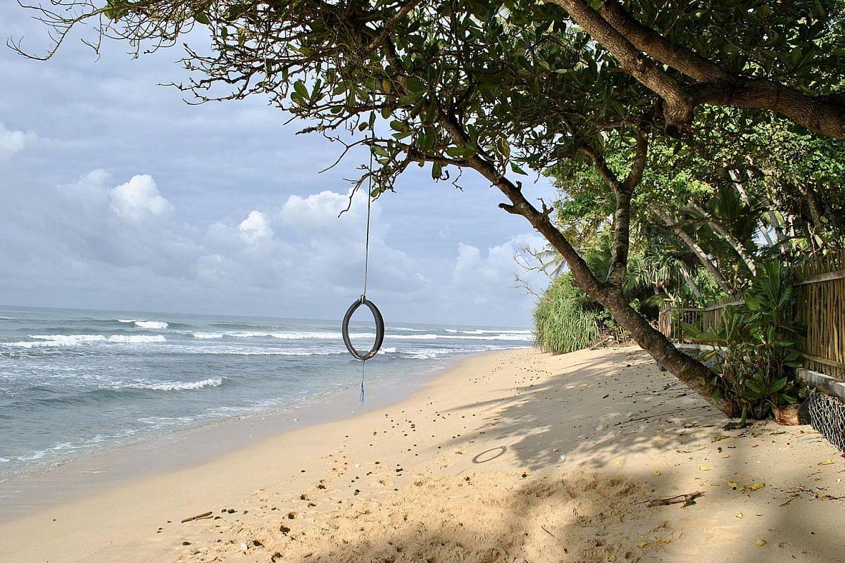 The beach swing at Royal Indigo Villa.