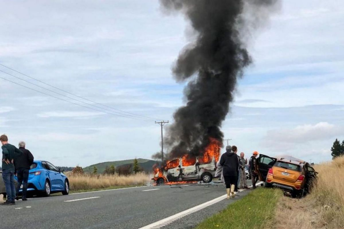 A group of six, which included several Singaporeans, was travelling on the Te Anau - Mossburn Highway in the Southland region of New Zealand's South island when the Hyundai Imax van which they were in collided with an orange Holden Trax sport utility