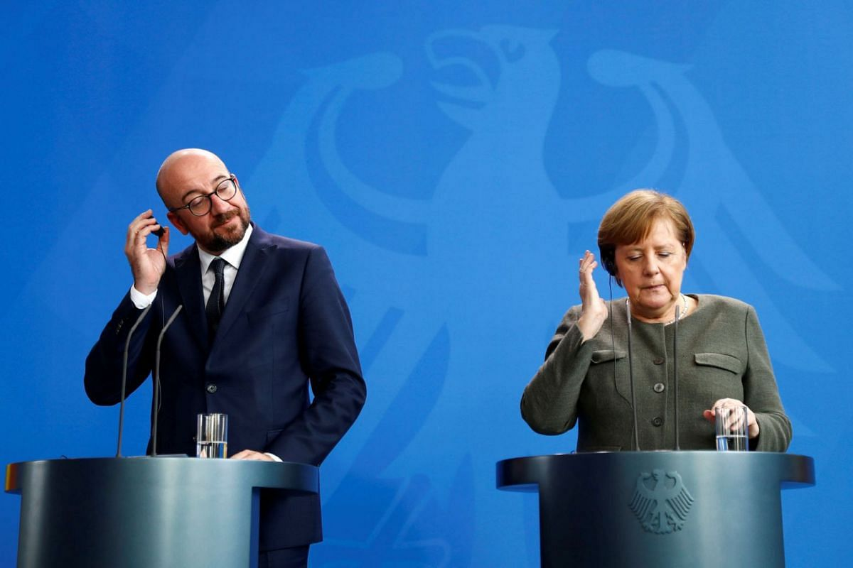 Prime Minister of Belgium Charles Michel and German Chancellor Angela Merkel address a news conference at the Chancellery in Berlin, Germany March 12, 2019. PHOTO: REUTERS