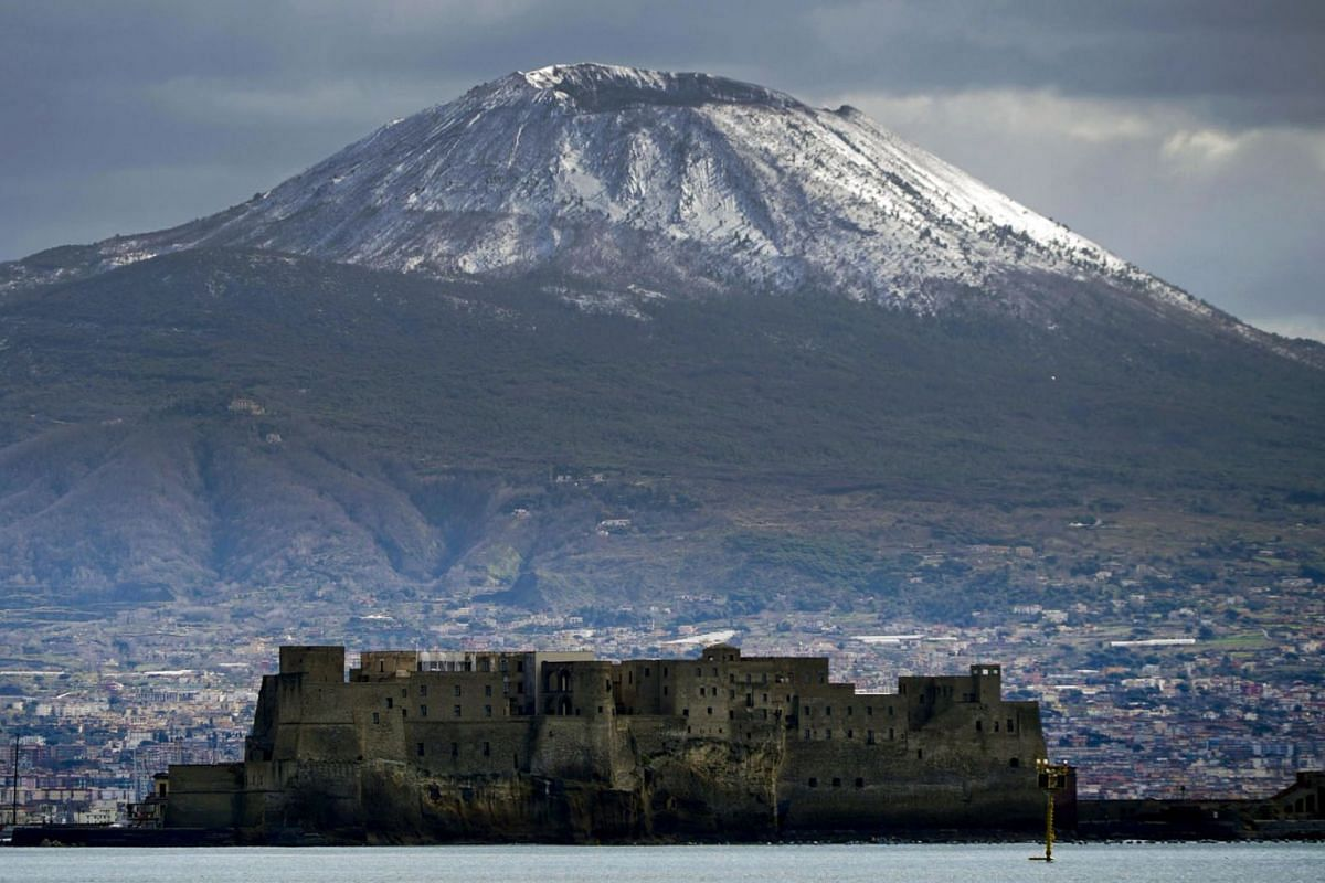 Mount Vesuvius is covered in snow, in Naples, southern Italy, March 12, 2019. PHOTO: EPA-EFE