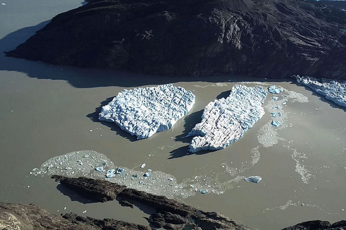 Two new icebergs are seen after breaking off from the Grey glacier in Patagonia, Chile March 9, 2019.  PHOTO: REUTERS