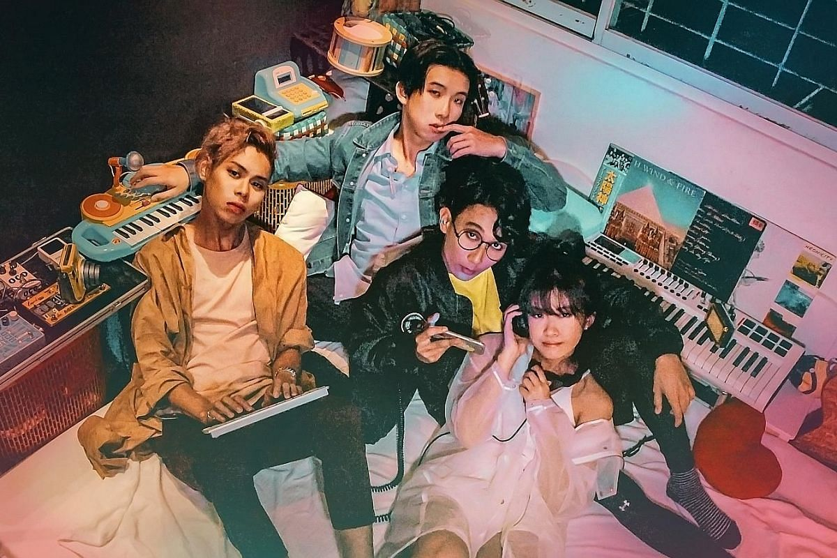 Singapore electronic pop band Disco Hue (comprising, from left, Rush Ang, Billy Chua, Auzaie Mohamad Khanafi and Sherlyn Leo) will release their full-length album, The Yearbook, in the middle of the year.