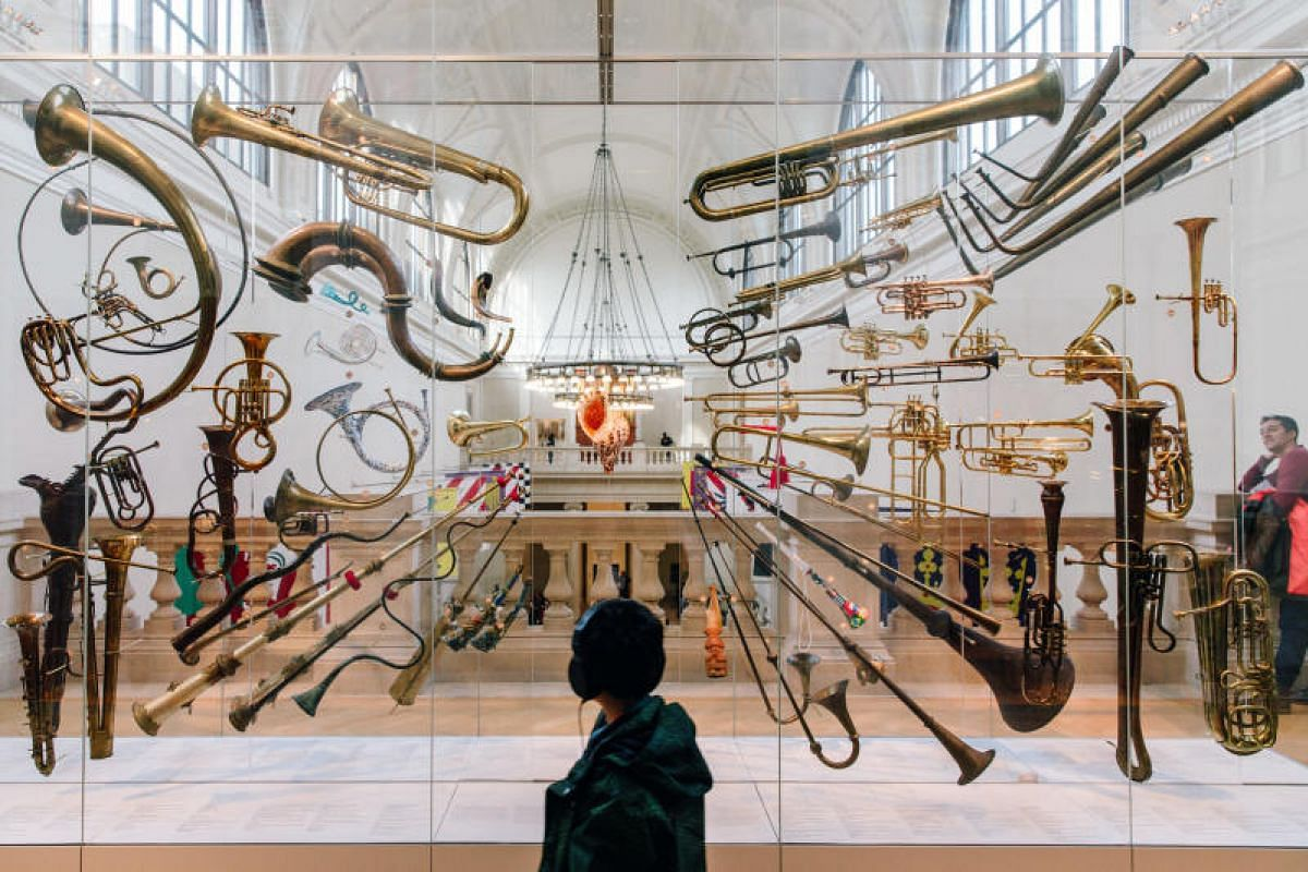 """A display of horns at """"Mapping The Art of Music"""" near Gallery 681 at the Metropolitan Museum of Art in New York. The gallery opened in February after a three-month makeover. PHOTO:NYT"""