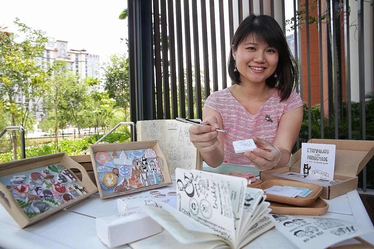 Stamp-making business ParadeMade founder Zheng Jiahui, who used to be a public servant, carves about 40 customised stamps each month, on top of holding stamp-making workshops.