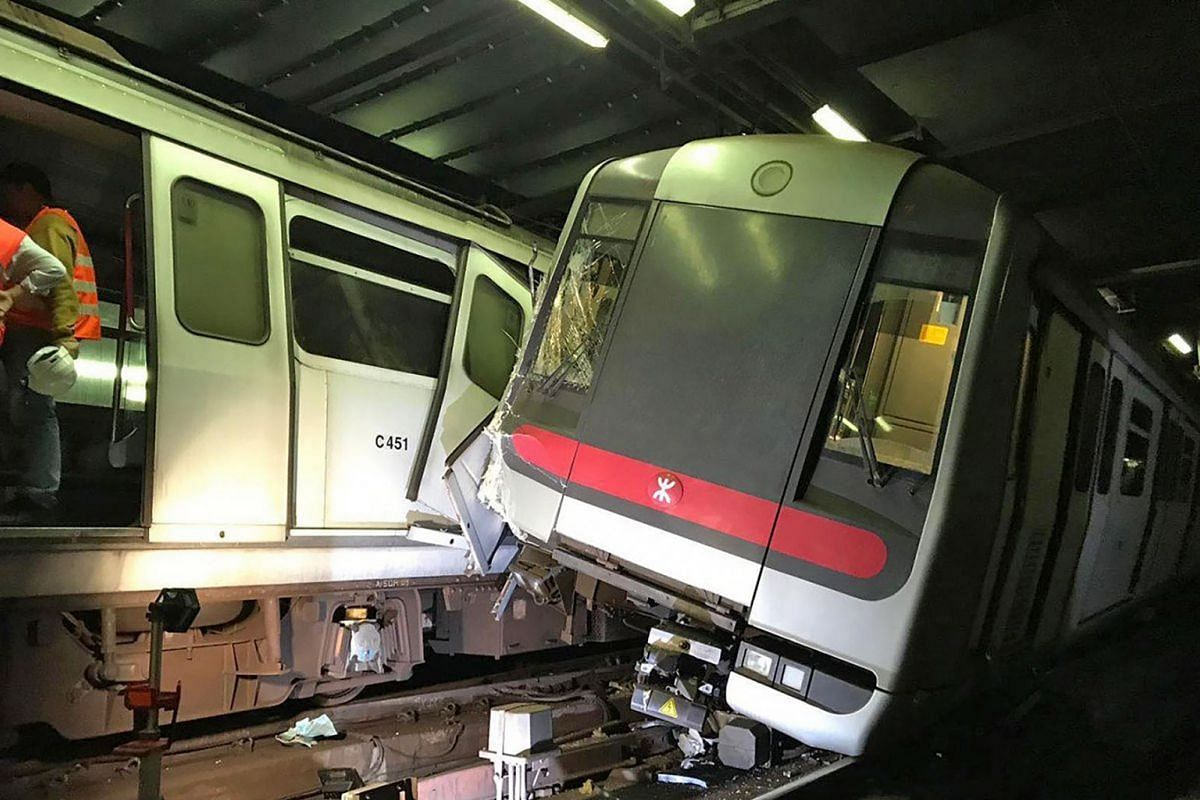Morning commute in Hong Kong was disrupted on March 17, 2019, after two subway trains collided in the wee hours during a trial run. Two drivers, one injured in the leg, were taken to hospital. The other driver suffered from smoke inhalation, accordin