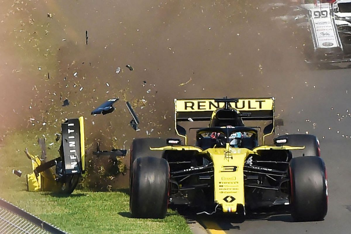 Renault's Daniel Ricciardo crashes at the start of the Formula One F1 Australian Grand Prix at the Albert Park Grand Prix Circuit in Melbourne, Australia, March 17, 2019. PHOTO: AAP via REUTERS