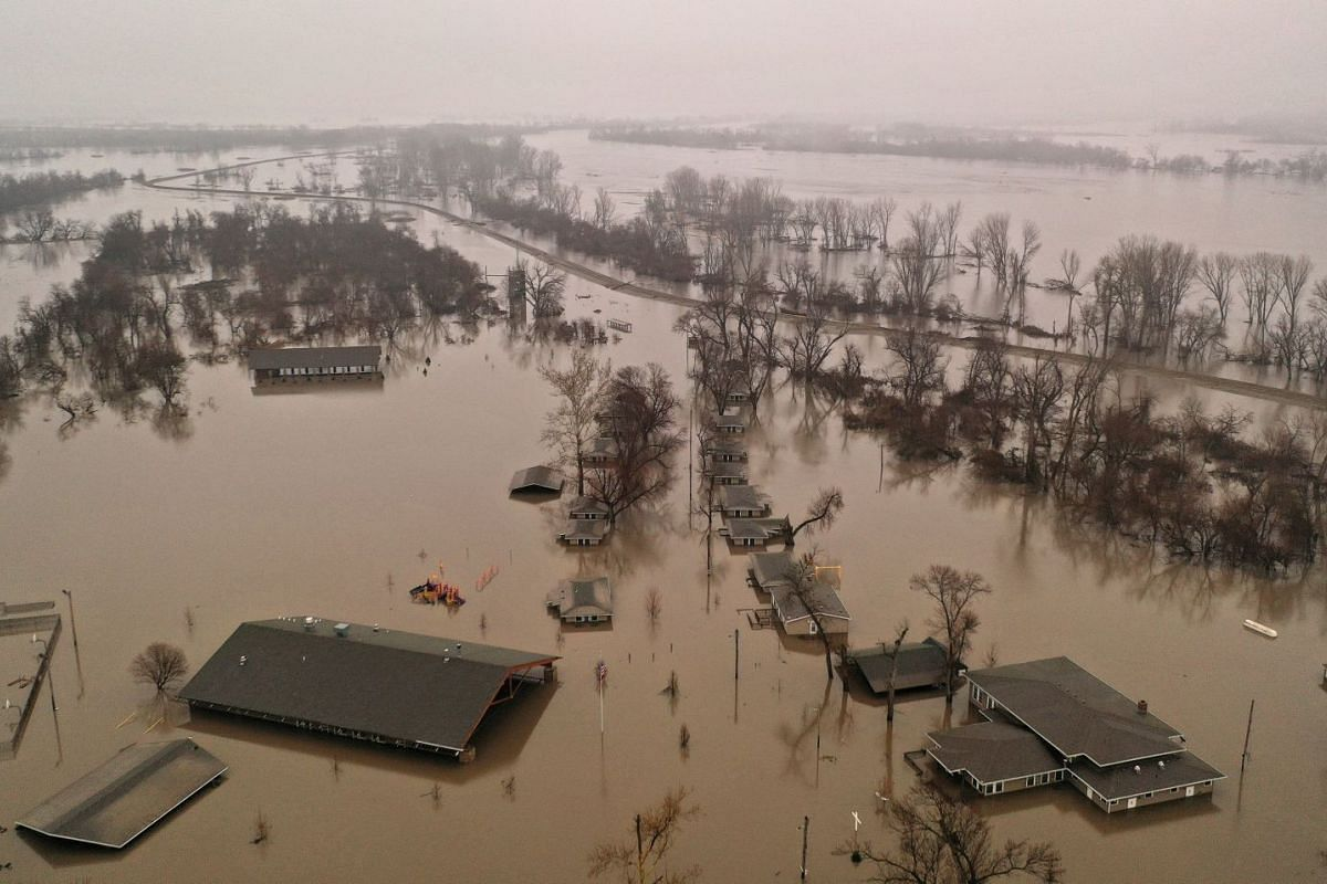A flooded parcel of land along the Platte River is pictured in this aerial photograph at La Platte, south of Omaha, Nebraska, U.S. March 19, 2019.