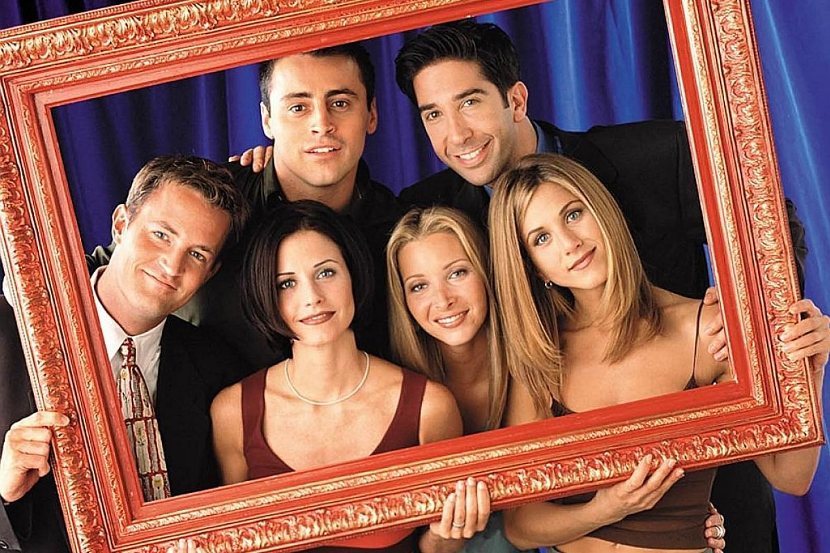 (Clockwise from left) Matthew Perry, Matt LeBlanc, David Schwimmer, Jennifer Aniston, Lisa Kudrow and Courteney Cox idealised the lifestyles of independent yuppies of the 1990s in Friends.