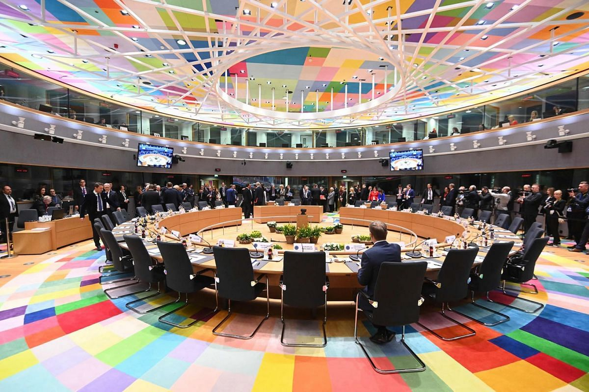 Members of the European Council attend a meeting on March 21, 2019 in Brussels on the first day of an EU summit focused on Brexit. - European Union leaders meet in Brussels on March 21 and 22, for the last EU summit before Britain's scheduled exit of