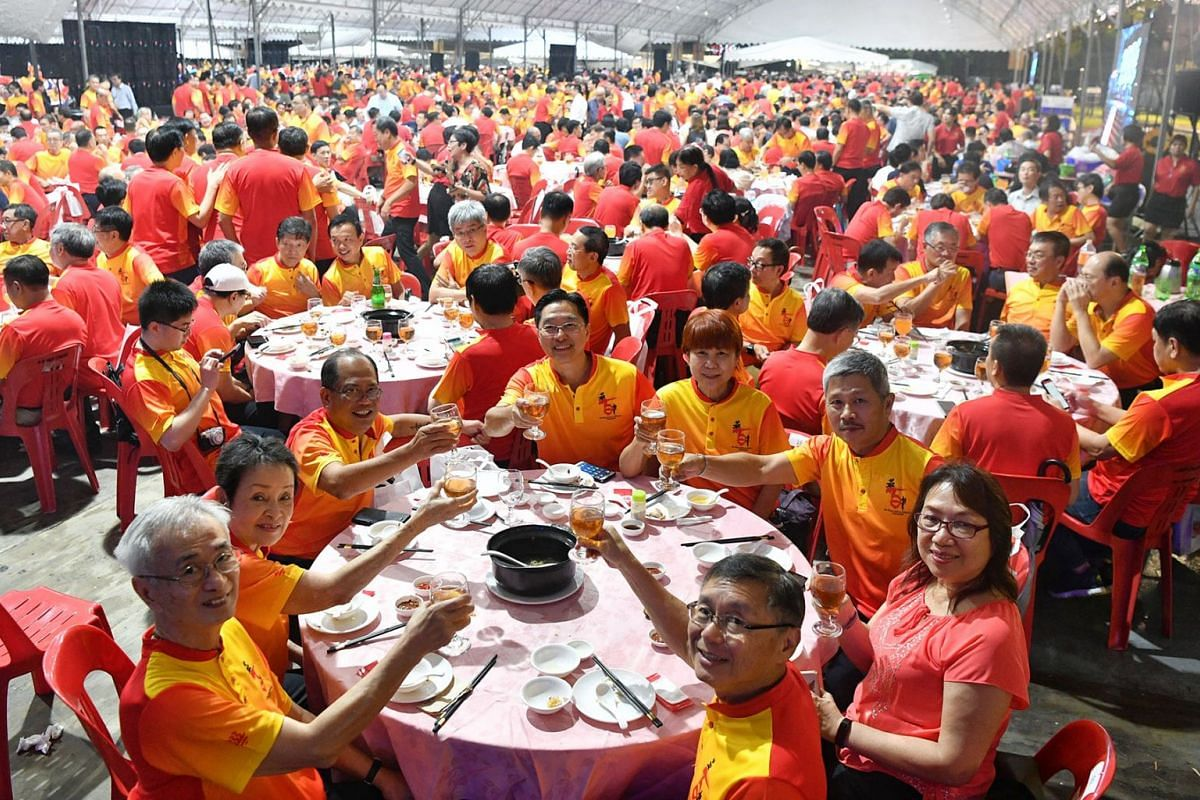 Part of the 12,000 alumni and guests at Hwa Chong Institution's gala dinner to celebrate the school's 100th anniversary at its Bukit Timah campus on Mar 21, 2019. Many alumni had flown back from abroad specially to celebrate their alma mater's cen