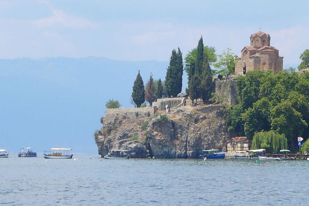"""Lake Ohrid is popularly pictured as a freshwater """"sea"""" in North Macedonia because it is vast and deep."""