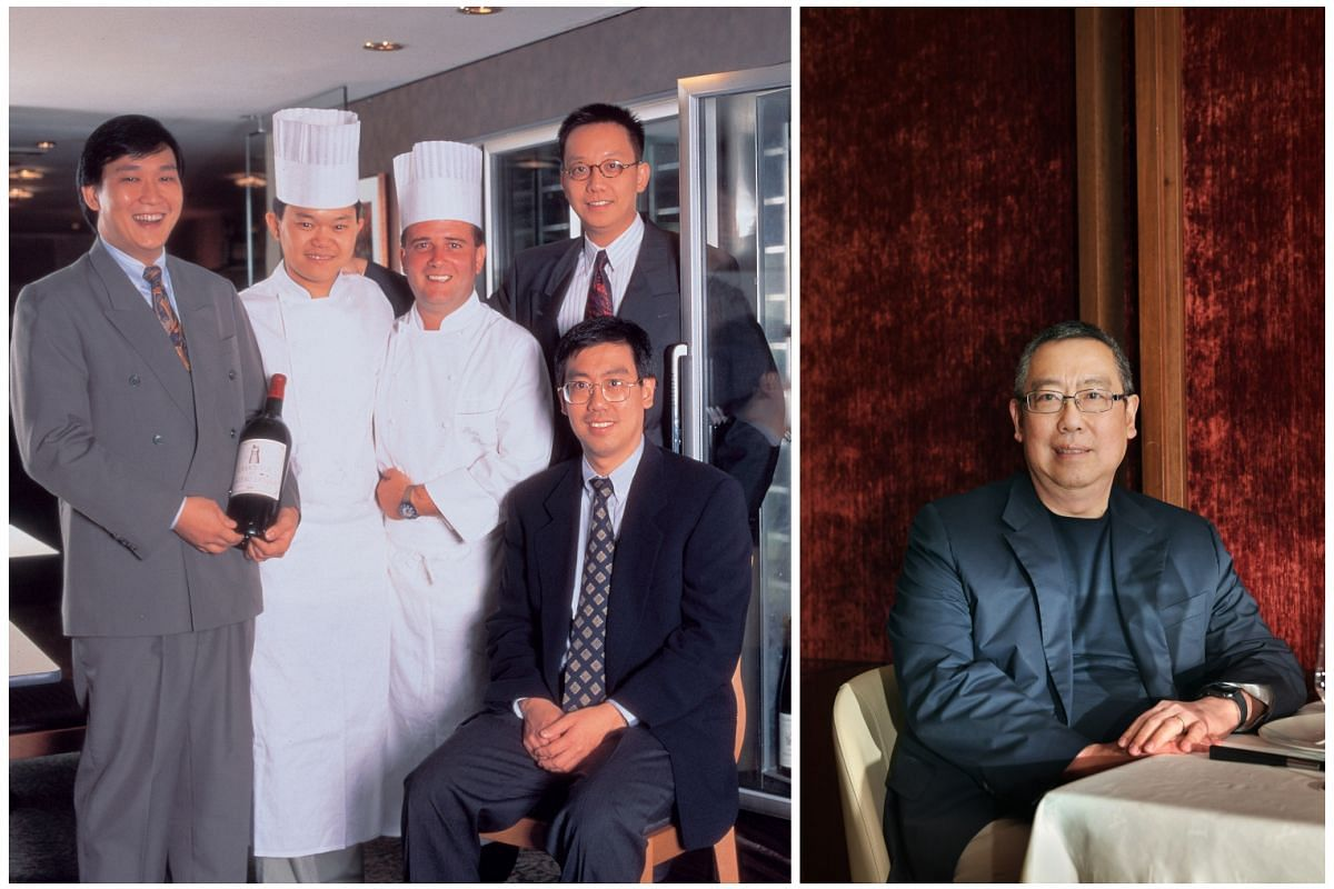 Les Amis was founded by (from left) Mr Ignatius Chan, Chef Justin Quek, Dr Chong Yap Seng (fourth from left) and Mr Desmond Lim (seated and right).