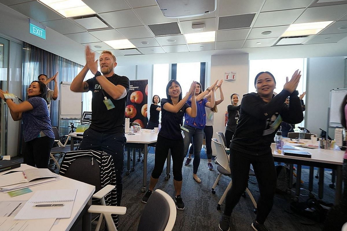 Corporate wellness providers like the Johnson & Johnson Human Performance Institute (above) are coming up with fun ways to boost workers' health and energy levels.