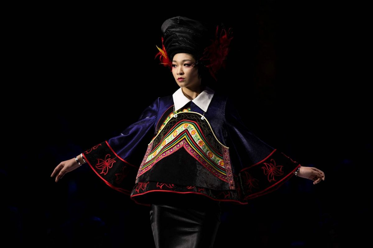 A model presents the collection by Zhang Kejia during the China Fashion Week in Beijing on March 26, 2019. PHOTO: AFP