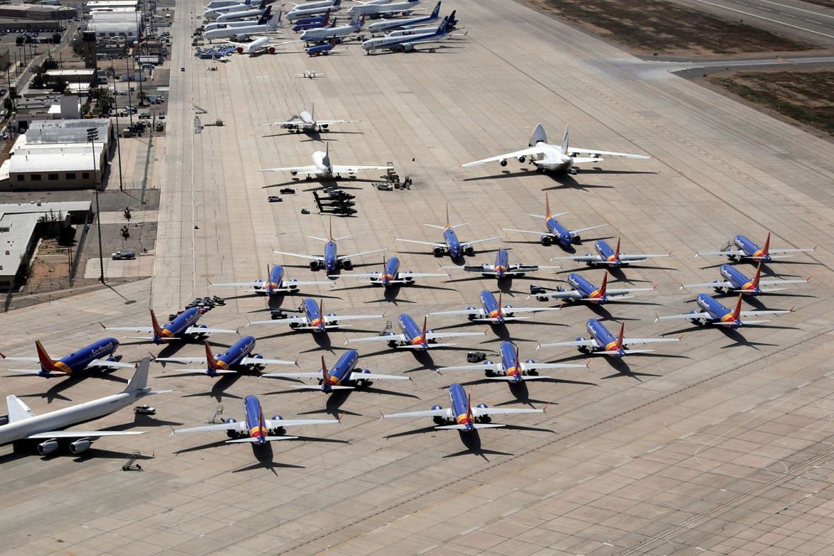 A number of grounded Southwest Airlines Boeing 737 MAX 8 aircraft are shown parked at Victorville Airport in Victorville, California, U.S., March 26, 2019. PHOTO: REUTERS
