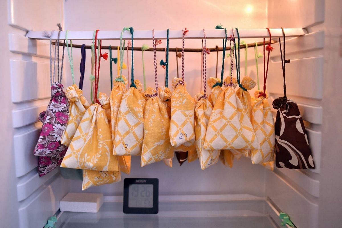Cloth bags with the bats inside hang in a fridge prior to their awakening after winter hibernating at a bat rescue centre in Minsk, Belarus on March 23, 2019.