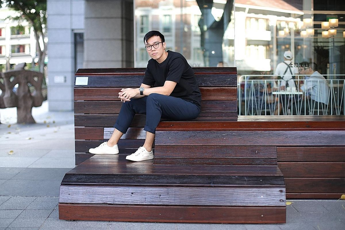 Play It Forward Singapore's co-founders Lee Yan Chang (left) and Billy Soh bring donated pianos that have been refurbished to public spaces, such as at The URA Centre, for people to play. A group of music lovers putting on a free mini concert using a