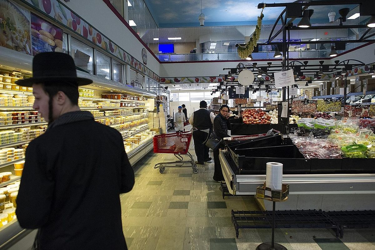 A supermarket popular among the Orthodox Jewish community in Monsey, Rockland County, New York. A measles outbreak in the county has sickened scores of people and intensified smouldering tensions between the rapidly expanding and insular ultra-Orthod
