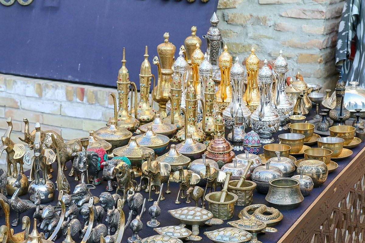 Tourists can buy a wide range of souvenirs at Bukhara's trading domes.