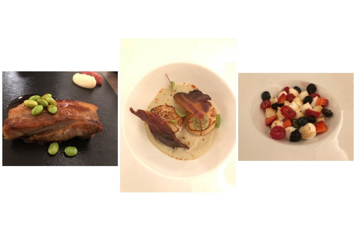 There is nothing shy about the flavours in the dishes, such as Pork (left), Scallops (middle) and Yuzu (right).