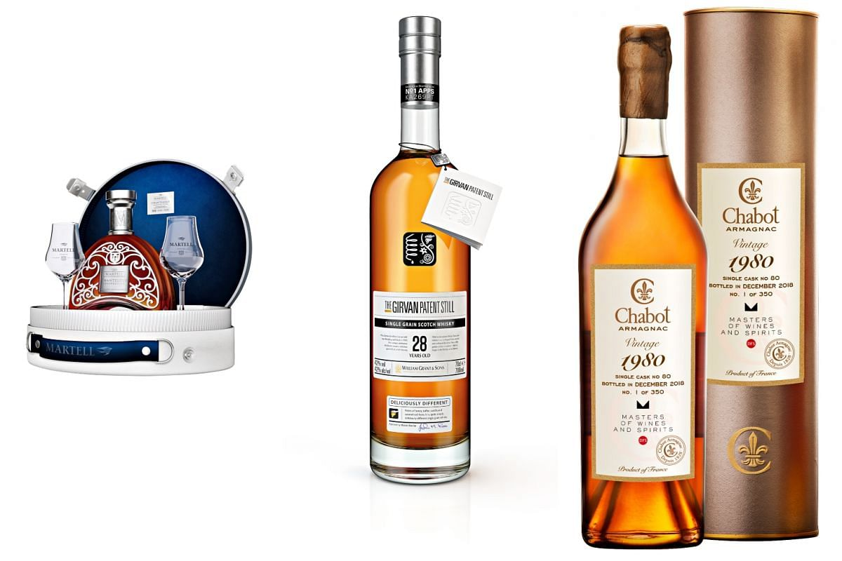 From left: Martell Chanteloup Limited Edition Gift Pack, The Girvan Patent Still 28 Year Old and Chabot Vintage 1980.