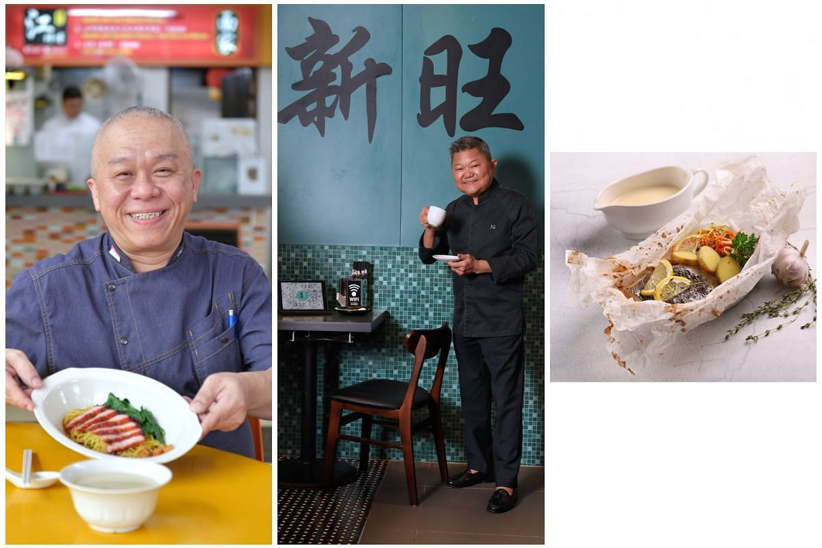 Ang Song Kang (left), chef-owner of one-Michelin-starred Chef Kang's, opened wonton noodle stall Chef Kang's Noodle House in Toa Payoh with two of his proteges last year. Justin Quek (middle) launched three dishes at casual French food chain Poul