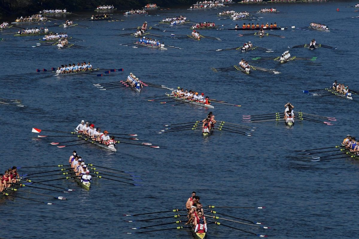 Crews gather at the start of the Head of the River Race, an annual rowing race dating back to 1926 where several hundred British and international rowing crews compete to be the fastest over a 6.8km course along the River Thames in London, Britain, M
